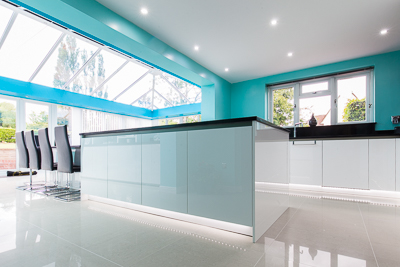 Blue stylish Kitchen Photograph, commercial photography